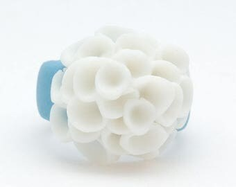 SALE Artisan sky blue cocktail ring with white porcelain  flowers - El Medano - ceramic porcelain jewelry - handcrafted jewelry - floral jew