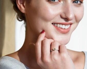 Citrine ring silver stacking ring, November birthstone ring, gemstone stacking ring, November birthday gift - Juliet