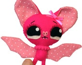 Little plush bat handmade felt art doll pink