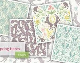 Spring Hares from Lewis & Irene - 6 Fat Quarter Bundles of sweet pastel Easter bunnies