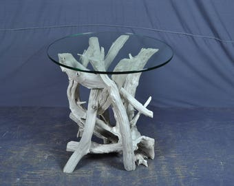 Sun bleached silver gray driftwood side table