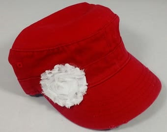 Raspberry red army hat, distressed, with white flower