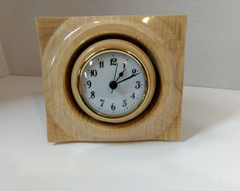 Desk Clock, Table Clock, Quilted Maple and Walnut Clock