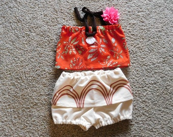 Baby Moana costume top and diaper cover with short attached skirt option of flower infant thru 3 years