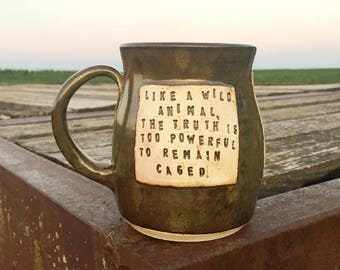 Large Mug-Like a Wild Animal the Truth is Too Powerful to Remain Caged- Roth-Ginkgo Leaves- Brown, Gold-Pottery Handmade by Daisy Friesen