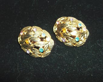 Large Clip On Chunky Gold Tone Earrings With Rhinestones