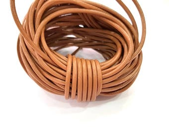 Leather Brown Cord 1mt-3.3 ft (3mm) Round Leather Lacing G7949