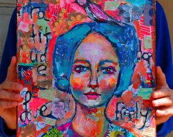 Love Freely 11x14 Folk Art Series
