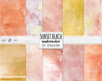 Sunset Watercolor Backgrounds, Pink, Yellow & Orange Watercolor Digital Papers, Tropical Island Vacation Scrapbook, Crafts
