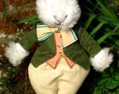 White Rabbit Toy White Bunny Toy White Dressed Toy Uncle Walter Rabbit Dressed Animal Toy Gift for Grandma Present for Mother Dads Fun Gift