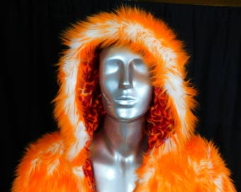 Orange Candy Faux Fur Light Up Coat - Orange furry Light Up Coat - 80 White LEDs -Super Soft Interior- LED Fur Coat- Backpack -Ready to Ship