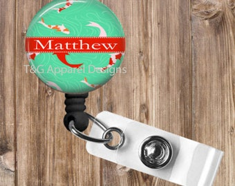 Personalized Koi Fish No Twist Retractable Badge Reel Badge Holder Great Gift for Teacher,Nurse,Office
