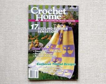 Crochet Home Magazine, Pattern Book, Afghans, Rug, Bathroom Set, Nursery Set, Baby Romper, Pillow, Doilies, Potholders, Vase & More, Vintage