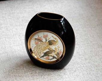 Chokin Vase, Black Porcelain Vase, Ceramic Pottery, Peacock Decor, Asian Birds, Signed Engraved Art, Gold Trim, Vintage, Orig Label, Box
