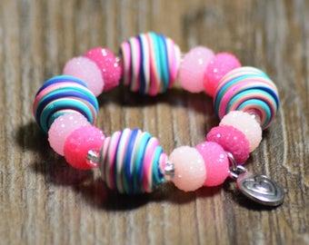 Pink Blue Children's Stretch Bracelet Child Girl Polymer Clay Heart Charm Metal Birthday Summer Pink Rainbow Beaded Shimmer Acrylic Fun