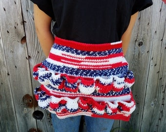 READY TO SHIP,Original Egg Apron,Crochet Egg Apron,4th of July,Red White and Blue,Chicken Apron,Pocket Apron,Egg Collecting,Egg Gathering