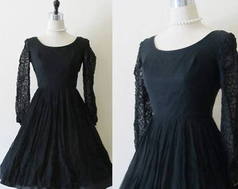 """40% OFF SALE Vintage 1950's Black Party Dress / 50's Rayon Chiffon Party Dress / """"MIDNIGHT Summer's Dream"""" / Couture Fashion Cocktail Party"""