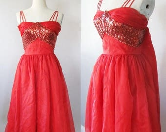 "40% OFF SALE Vintage 1950's Lipstick Red Party Dress / Cupcake Red Sequin Bombshell Cocktail Prom Dress / Size Small 32"" inch Bust"