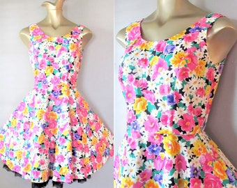 Vintage Garden Party Sundress / 1980's Black and Multi Color Floral Retro Sleeveless Dress / Size Small-Medium