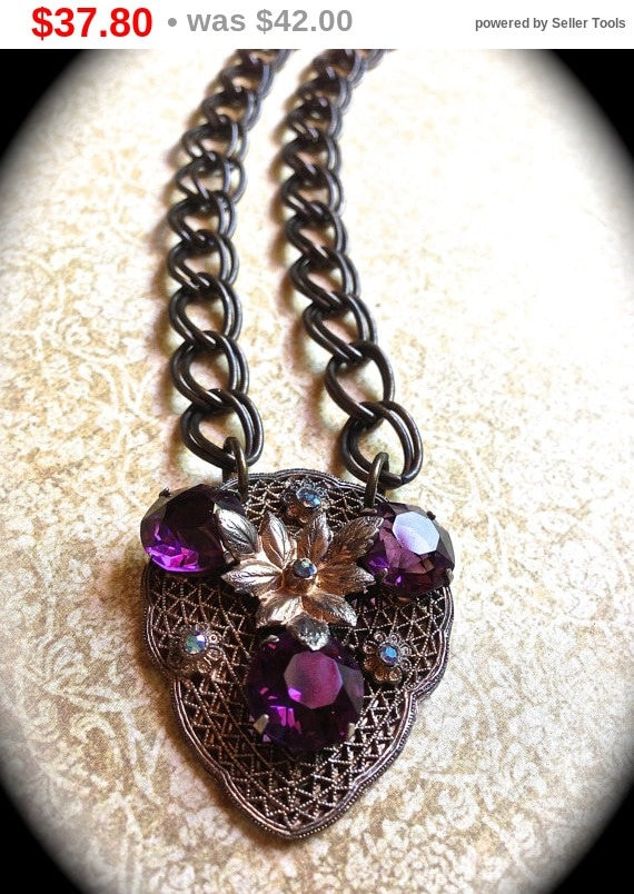 Summer Sale Sale Purple Rhinestone Necklace- Crystal Handmade Necklace-Art Deco Costume Jewelry