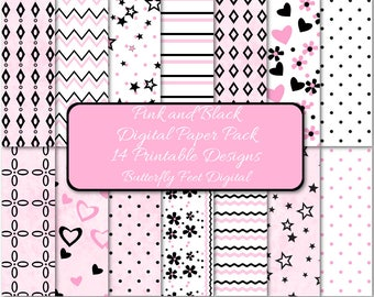 Pink and Black Digital Paper Pack, 14 Printable Designs, Scrapbooking, Card Making, Party Supplies, Instant Download