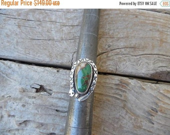 ON SALE Turquoise rattlesnake ring handmade in sterling silver with beautiful Royston turquoise