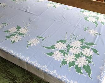 Vintage Tablecloth Blue Green Flowers Bouquet