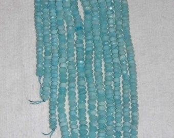 Aquamarine, Aquamarine Rondelle, Faceted Rondelle, Frosted Aquamarine, Natural Stone, Gemstone Bead, Semi Precious, Half Strand, 7mm