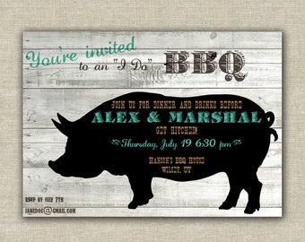 BBQ Rehearsal Dinner, BBQ bridal shower invitation, wedding shower, BBQ invitation, adult birthday party, pork, grill