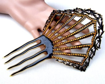 Art Deco hair comb celluloid amber rhinestones Spanish style hair accessory headdress headpiece hair pin hair pick hair fork