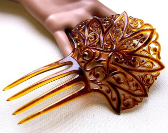 Art Deco celluloid hair comb Spanish style hair accessory headdress headpiece decorative comb hair ornament