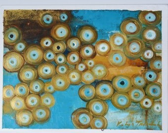 "Turquoise and Gold oil painting on paper 16x12"" original art by Katya Trischuk Toronto artist"