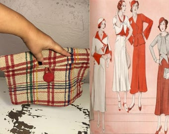 Gaggling Gossiping Gals - Vintage 1930s Primary Colours Plaid Envelope Handbag Clutch Bag