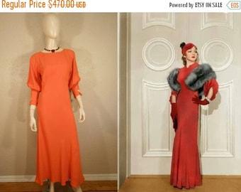 Anniversary Sale 35% Off We Met Them in Biarritz - Vintage 1930s Pumpkin Orange Crepe Silk Dress w/Juliet Sleeves Bow Detail - 4/6