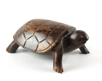 Turtle Wooden Sculpture, Vintage Ironwood Carving, Boho Chic Decor, Tortoise Figurine