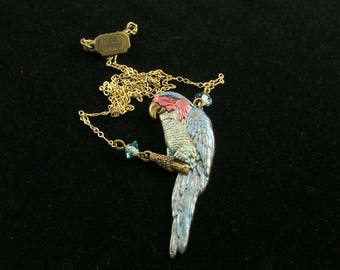 Vintage Pididdly Links Blue and Red  Parrot  with  Blue  Glass Beads