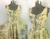 Garden Floral Corset Dress // Cotton Rockabilly Corseted Sundress