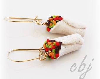 Burrito Earrings, Polymer Clay Burrito Earrings, Gold Filled Burrito Earrings, Dangle Burrito Earrings, Polymer Clay Burrito Jewelry