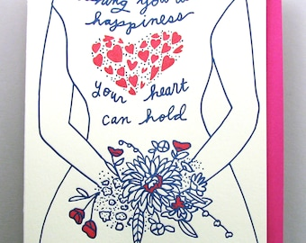 "Letterpress card,  ""Happiness Heart Can Hold"" wedding"