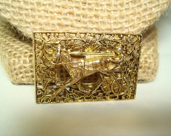 1960s Harness Racing Horse Racing Sulky Gold Tone Pin.
