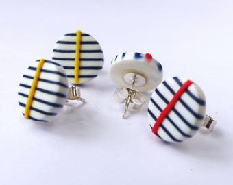 Graphic Navy and White stripey stud earrings, sterling silver, nautical, Breton, quirky, seaside, yellow or red line