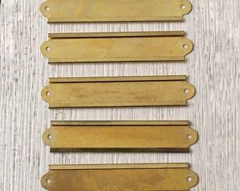 Vintage Brass Label Holders File Drawer Name Plates