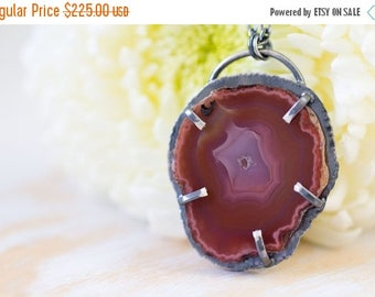 SUMMER SALE Red Laguna Agate Slice Necklace, Sterling Silver Statement Necklace - Muse and Reverie