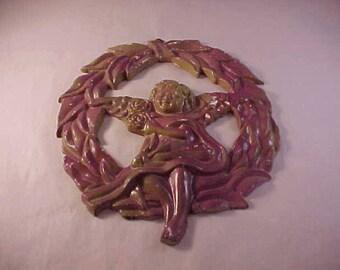 Die Cast Metal Angel Wreath Wall Hanging