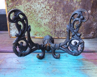Vintage Hook hanger  Hat Coat Cast iron black butterfly  salvage Architectural hardware Gothic Victorian parlor rack
