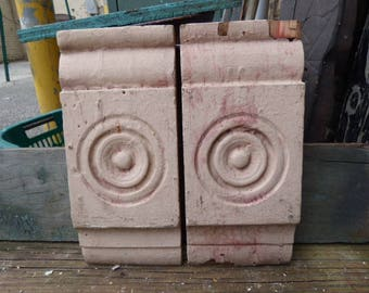 2 Antique Wood Architectural salvage Rosettes corbels Chippy Boards Plinth Supplies French Country Repurpose Restoration