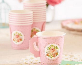 Pink Floral Shabby Chic Vintage Paper Cup with Handle package 8