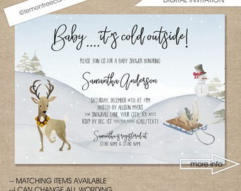 Baby it's cold outside, winter baby shower invitation, outdoor winter scene, neutral gender