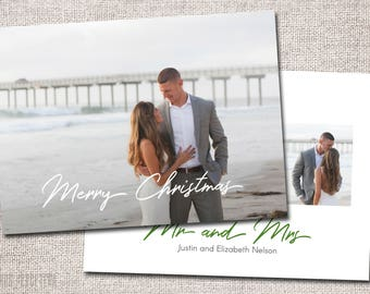 Mr and Mrs Christmas card, First Christmas, Married, Wedding Christmas Card, Photo, Just Married Christmas Card: PRINTABLE (Mr and Mrs)