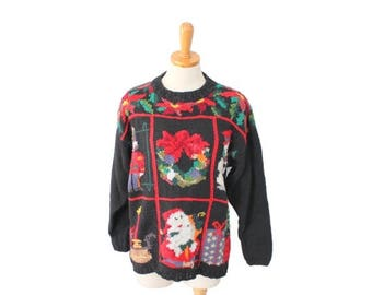 50% half off sale // Vintage 90s Snowman Nutcracker Various Scenes TACKY Ugly Christmas Sweater // Crystal Kobe, snowman